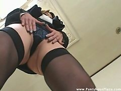 Lady boss teases wimp so he can masturbate his own cock
