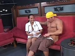 Young asian nurse doing a hard fucked with her patient