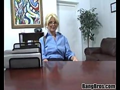 blonde lady smashed in office