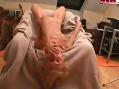 Skinny Blonde Granny Gets Fucked And Sucks On His Hard Cock