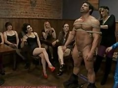 Madeline invites 40 local girls to humiliate and gang bang a male stripper