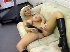 Blonde Sara Jay, her silicon tits and a dildo
