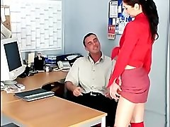 Office sex with a skinny secretary fucking in sheer red stockings