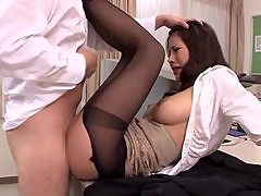 Hot Japanese woman makes steamy sex in office