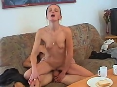 Skinny mature woman satisfied by a young guy