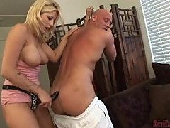 Staci Thorn rides a cock and drills the guy's butt with a strap on